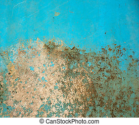 grungy turquoise paint with rust