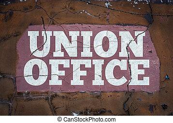 grungy, unie, werkmannen , kantoor, meldingsbord