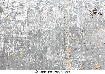 grungy, vägg, metall