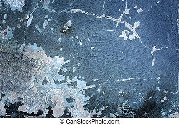 grungy, vägg, sprickor, cement