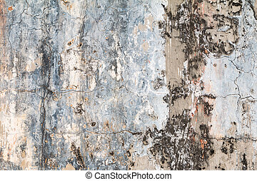 grungy, vägg, sprickor, texture., cement