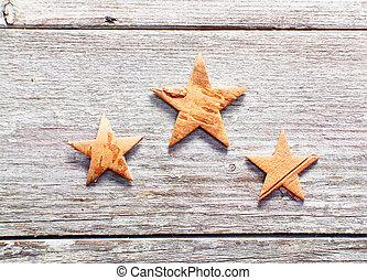 grungy, ved, jul, stjärnor