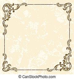 grungy, vendange, cadre, carrée, sépia