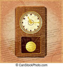 grungy, vendange, fond, horloge