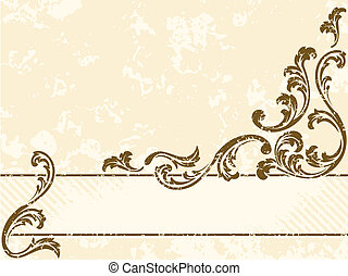 grungy, vendange, horizontal, sépia, bannière