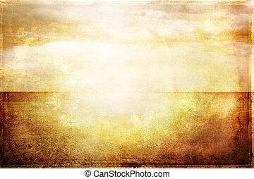 grungy, vendange, image, de, mer, et, ciel, dans, lumière...