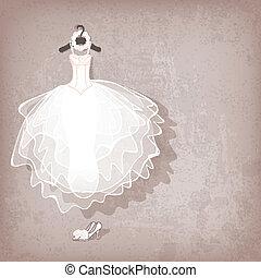 grungy, vestido, fundo, casório