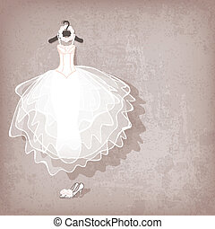 grungy, vestido, plano de fondo, boda