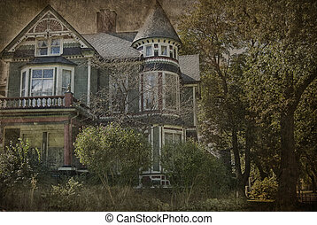 Grungy Victorian house - Victorian old house with grungy...