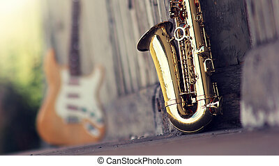 grungy, vieux, saxophone