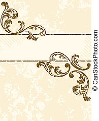 Grungy vintage sepia banner, vertical