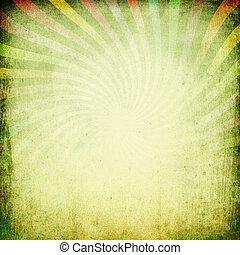 Grungy vintage sunburst background.