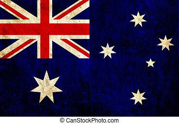 grungy, vlag, papier, australië