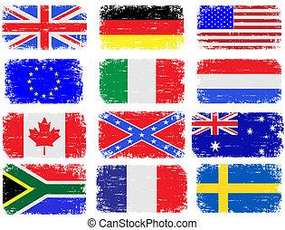 grungy, vlaggen