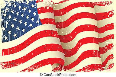 grungy, waving, bandeira americana