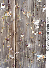 Grungy wood notice board 1 - Weathered wood pin board with...