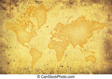 Grungy yellow map of the world