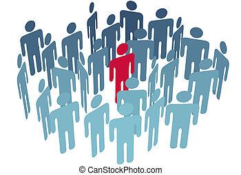 grupa, środek, figura, ludzie, towarzystwo, klucz, człowiek