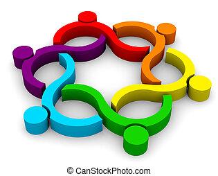 grupa, abstrakcyjny, -, machać, teamwork, 6, 3d