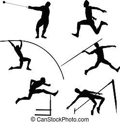 grupa, atletyka, komplet, atleci, mężczyźni