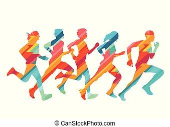 grupa, barwny, ilustracja, biegacze