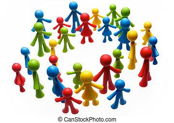 grupa, barwny, ludzie, barwiony, figury, tło, biały