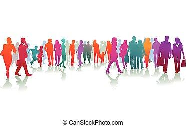 grupa, barwny, ludzie