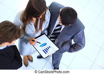 grupa, biuro, handlowy zaludniają, praca, planowanie
