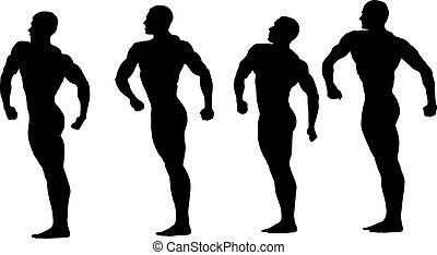 grupa, bodybuilders, atleci