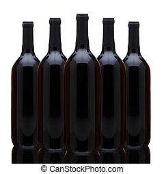 grupa, butelki, czerwone wino