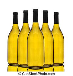 grupa, chardonnay, butelki, wino