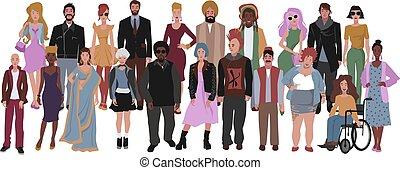 grupa, diversity., multicultural, ludzie., towarzyski,...