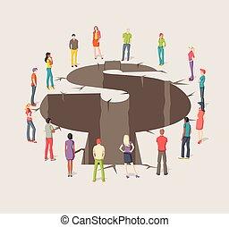 grupa, dookoła, handlowy zaludniają, pieniądze, symbol., formułować, otwór