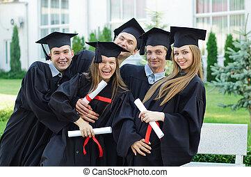 grupa, dyplomy, absolwenci, ich, śmiech, siła robocza
