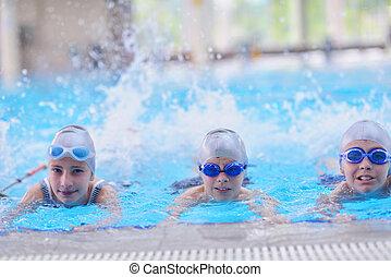 grupa, dzieci, kałuża, pływacki