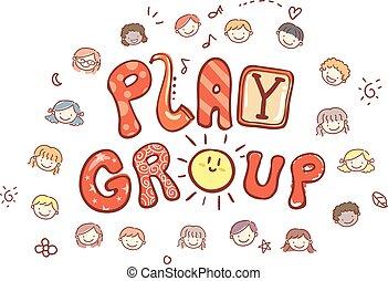 grupa, dzieciaki, stickman, gra, ilustracja