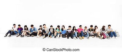 grupa, etiuda, młody, razem, student, szczęśliwy