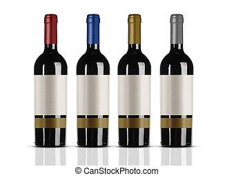grupa, etykieta, butelki, biały czerwony, wino