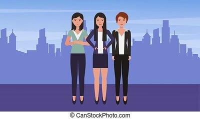 grupa, handlowe kobiety, drużyna, razem, w mieście