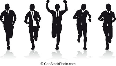 grupa, handlowy, biegacze