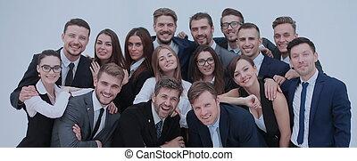 grupa, handlowy, ludzie., odizolowany, wielki, biały, podniecony