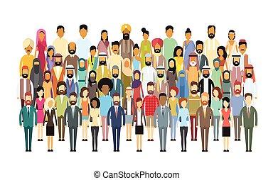 grupa, handlowy, tłum, ludzie, cielna, zmieszać, rozmaity,...