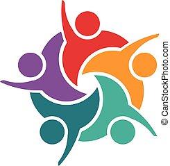 grupa, handlowy, work., ludzie, pomyślny, młody, drużyna, logo