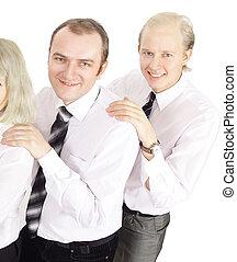 grupa, handlowy zaludniają, pomyślny, -, odizolowany, uśmiechanie się, biały