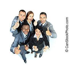 grupa, handlowy zaludniają, radość, pokaz, do góry, młody, kciuki, znaki