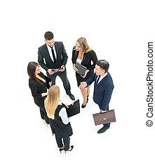 grupa handlowych ludzi, dyskutując., odizolowany, na białym, backgroun
