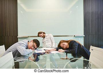 grupa handlowych ludzi, spanie, w, spotkanie pokój, z, czysty, obraz