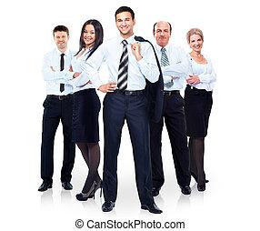 grupa handlowych ludzi, team., odizolowany, na białym, tło.