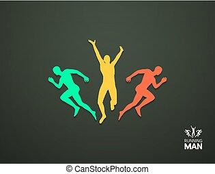grupa, illustration., concept., business., runners., wektor, projektować, sport