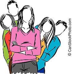 grupa, ilustracja, ludzie
